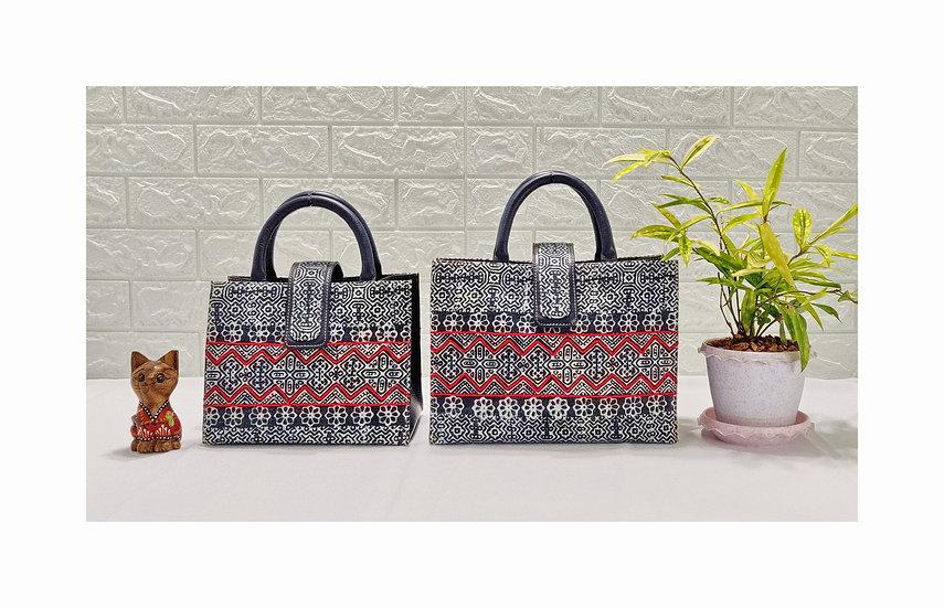 Tribal Bag, Hmong Batik Cotton Handle Handbag, Ethnic Tote Bag, Indigo Bag