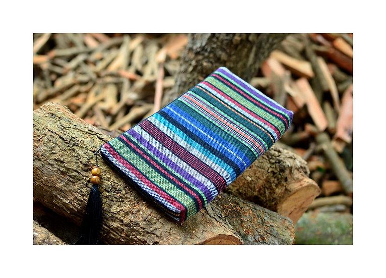 Stripe Cotton Wristlet, Tribal Bag, Blue Handbag