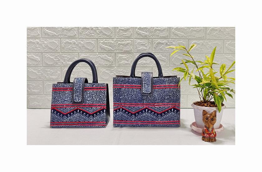 Tribal Bag, Hmong Batik Cotton Handle Handbag, Indigo Bag, Ethnic Tote Bag