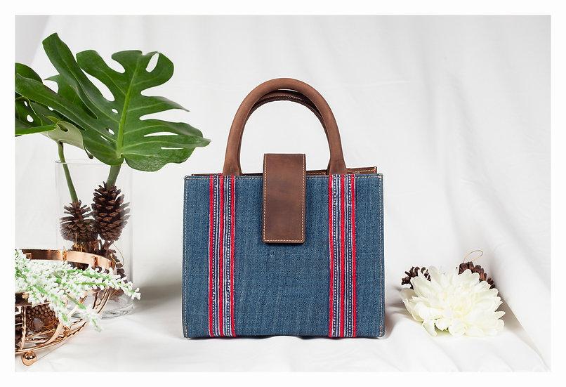 Indigo Cotton Handle Handbags, Ethnic Tote Bag, Tribal Bag