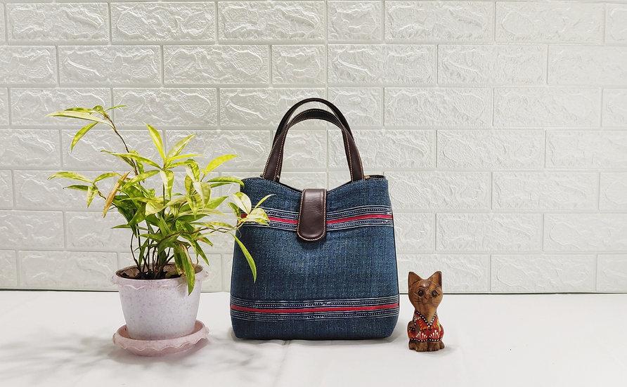 """""""Miniature"""" Cotton Shoulder Bag with Faux Leather"""