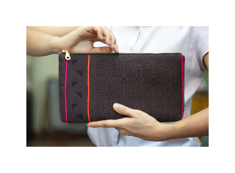 Bohemian Clutch, Tribal Bag, Hmong Printed Cotton Wristlet, Brown Handbag