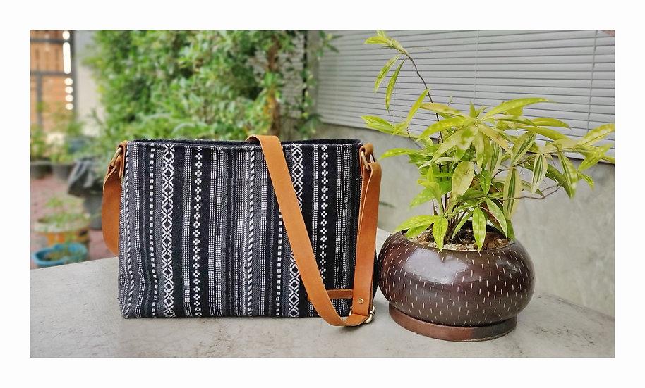 Tribal Bag, Hmong Crossbody Bags, Shoulder Bags, Gift Ideas, Black / Stripe