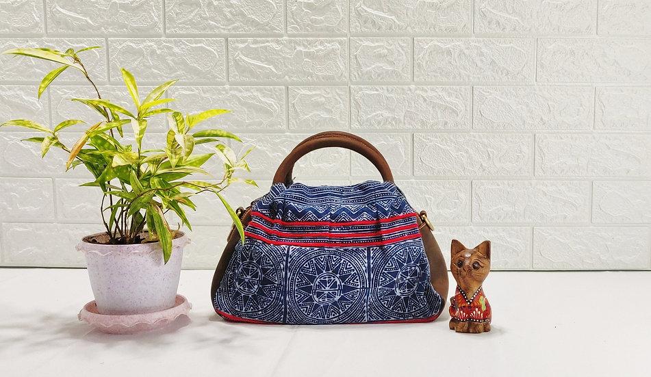 "Hmong Batik Handbag with Leather Trim, Tribal Bag, ""Sharpei"""