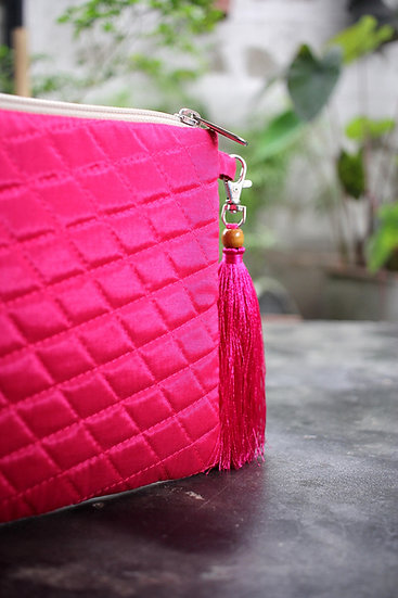 Quilted Silk Clutch Bag Pink Colour With Tassel