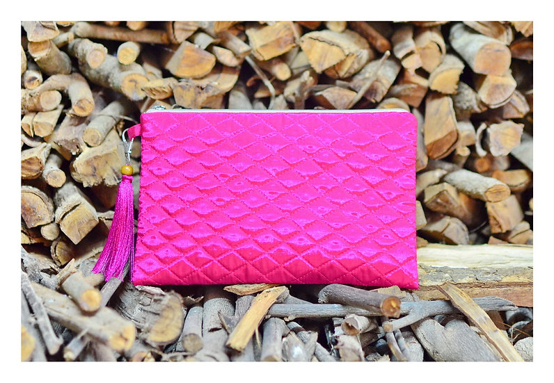 Handmade Gift For Her Quilted Silk Clutch Bag Pink Colour With Tassel