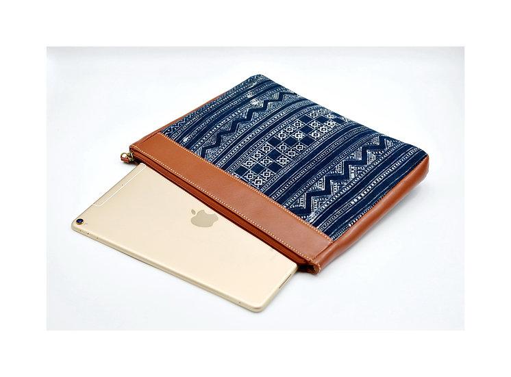 Indigo Batik Cotton iPad Case, Tribal Bag, Hmong Batik