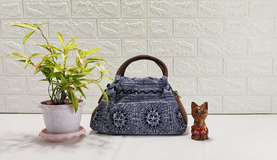 """Hmong Batik Handbag with Leather Trim, Water-splashed Bag, """"Sharpei"""""""