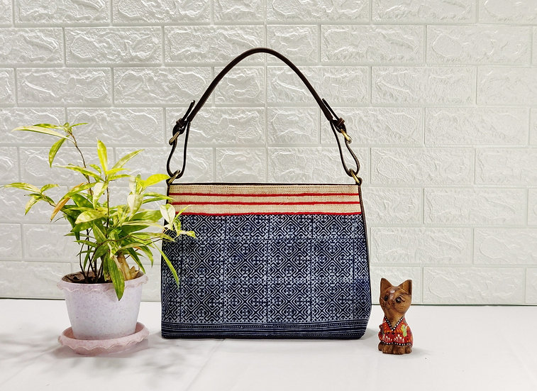 Ethnic Block-printed Batik Hobo Bag in Indigo, Indigo Tribal Bag