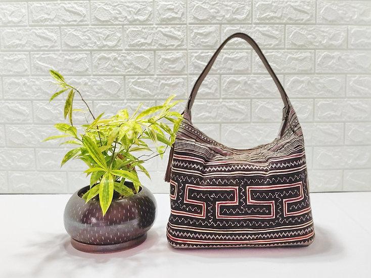 Embroidered bag, Hmong Tote Bag, Hobo Bags, Tribal Bag, Brown Purses