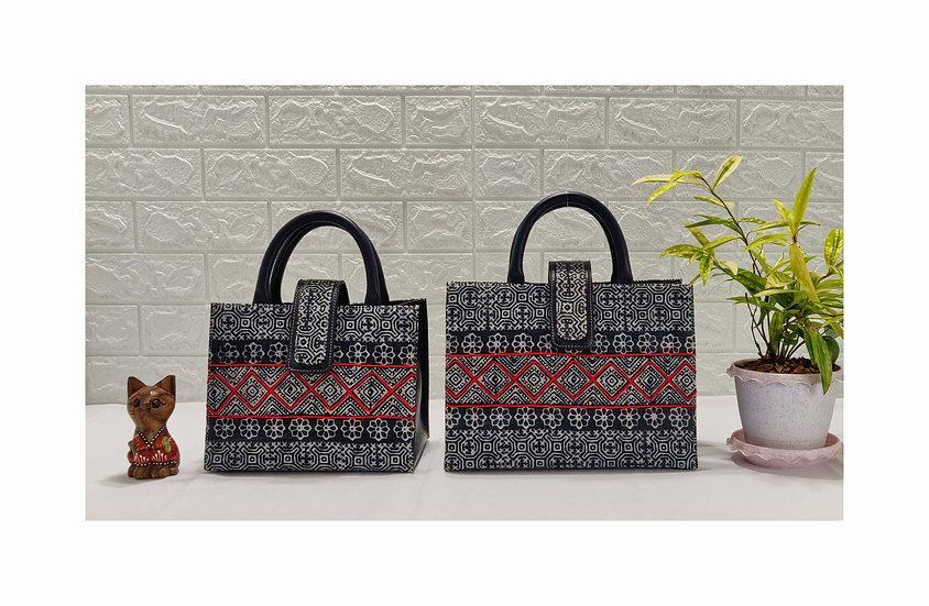 Hmong Batik Cotton Handle Handbag, Ethnic Tote Bag, Tribal Bag, Indigo Bag
