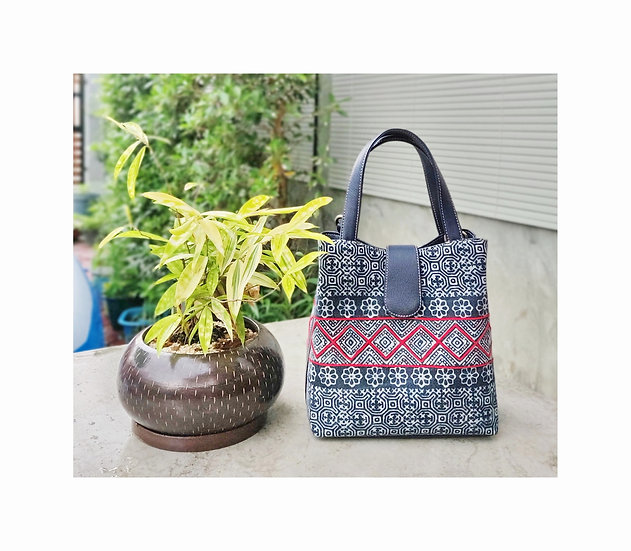 """Miniature"" Hmong Batik Shoulder Bag with Red Cord"