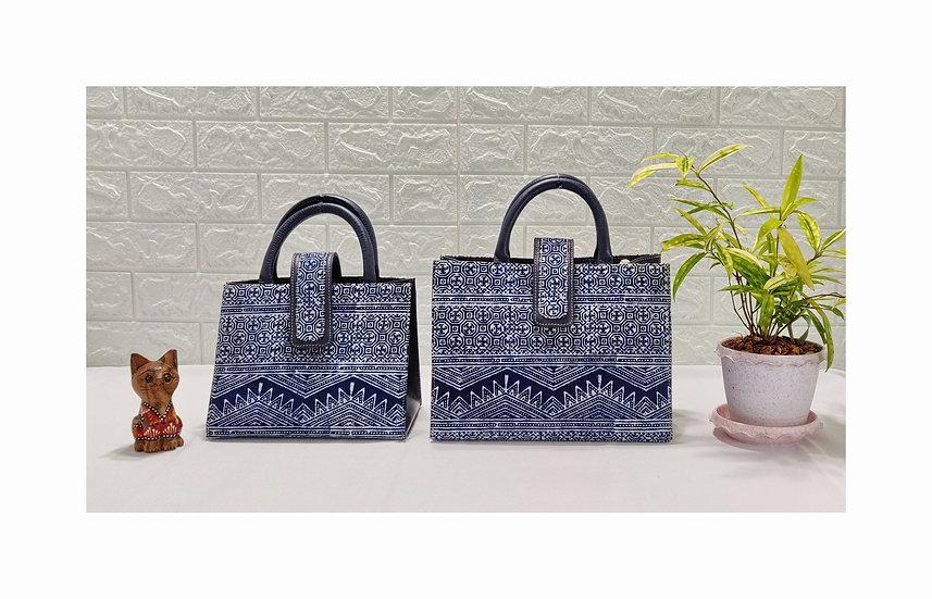 Hmong Batik Cotton Handle Handbag, Indigo Bag, Ethnic Tote Bag, Tribal Bag