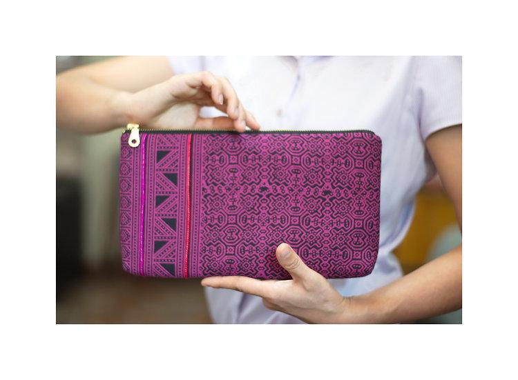 Tribal Bag, Bohemian Clutch, Hmong Printed Cotton Wristlet, Pink Handbag, Christ