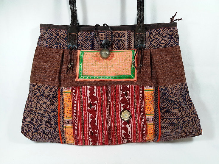 Handmade Gift for Her Bohemian Shoulder bag Brown Colour In Unique Thai Style
