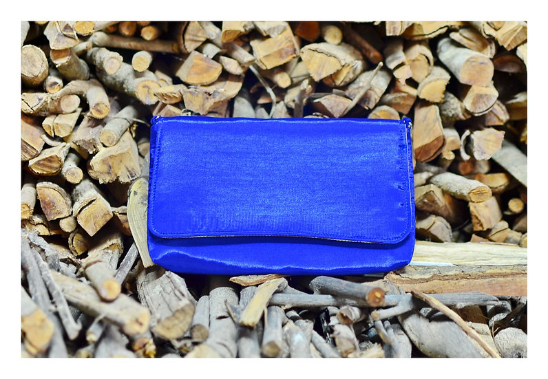 Handmade Silk Clutch Bag For Gift Idea in Blue Colour