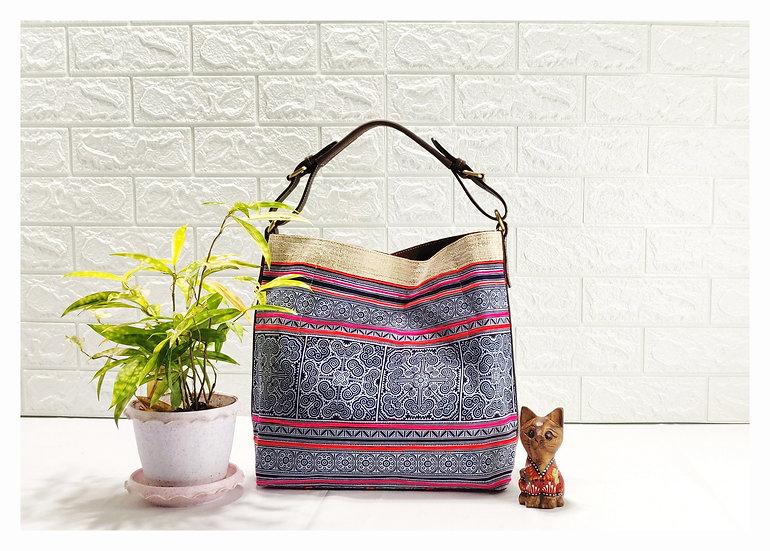 Sarah,Printed Cotton Hobo Bag, Hmong Style