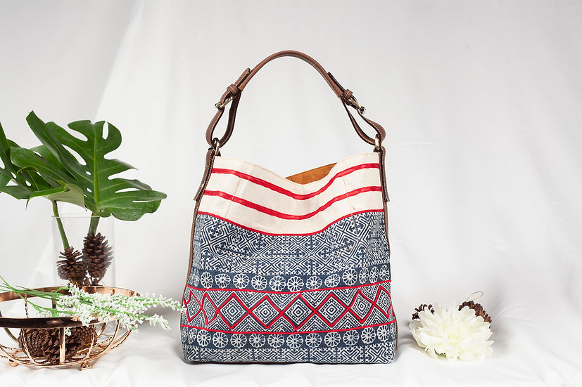 Sarah, Tribal Bag, Hmong Tote Bag,  Water-splash Bag, Indigo Purses