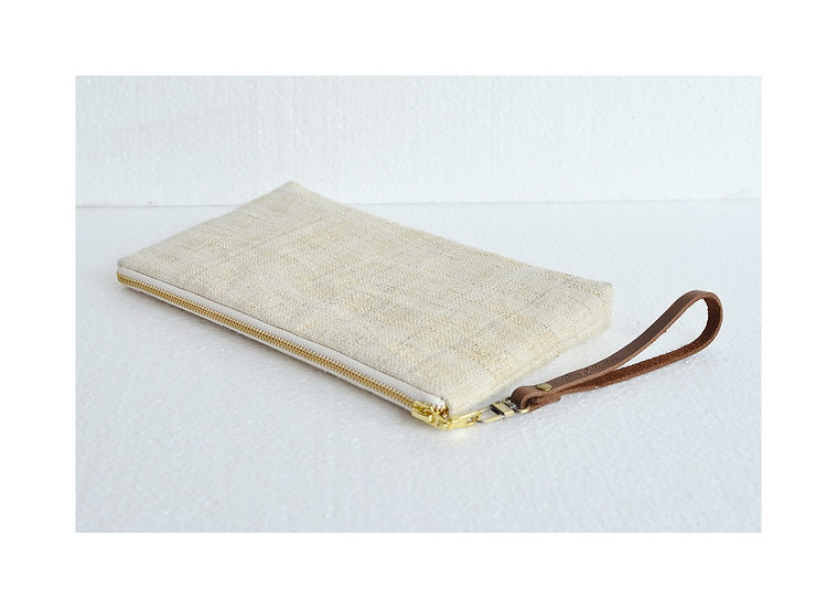 Natural Hemp Wristlet, Purses, Handbags, Wallet, White Bag