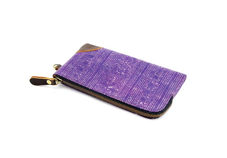 Handmade Batik Wristlet Bag, Phone Case, Purple Bag