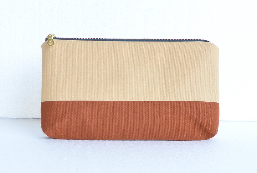 Splash Resistant Cotton Clutch Nude and Brown