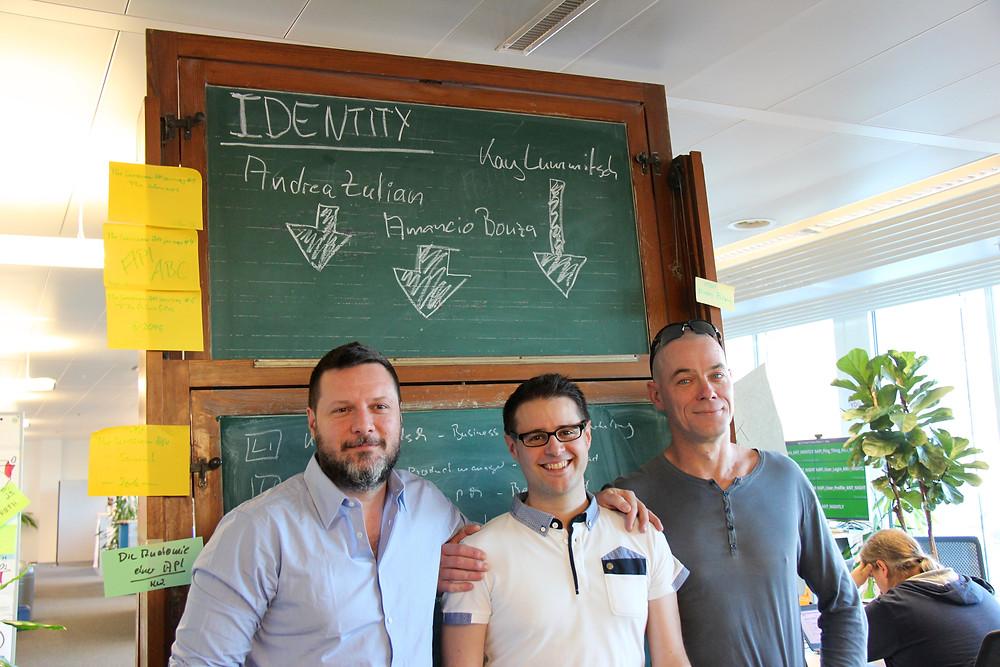 The Identity API product team. From left to right: Andrea Zulian, Amancio Bouza, Kay Lummitsch.