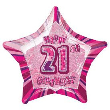 "Balloon Foil 18"" Happy Birthday 21 Pink"