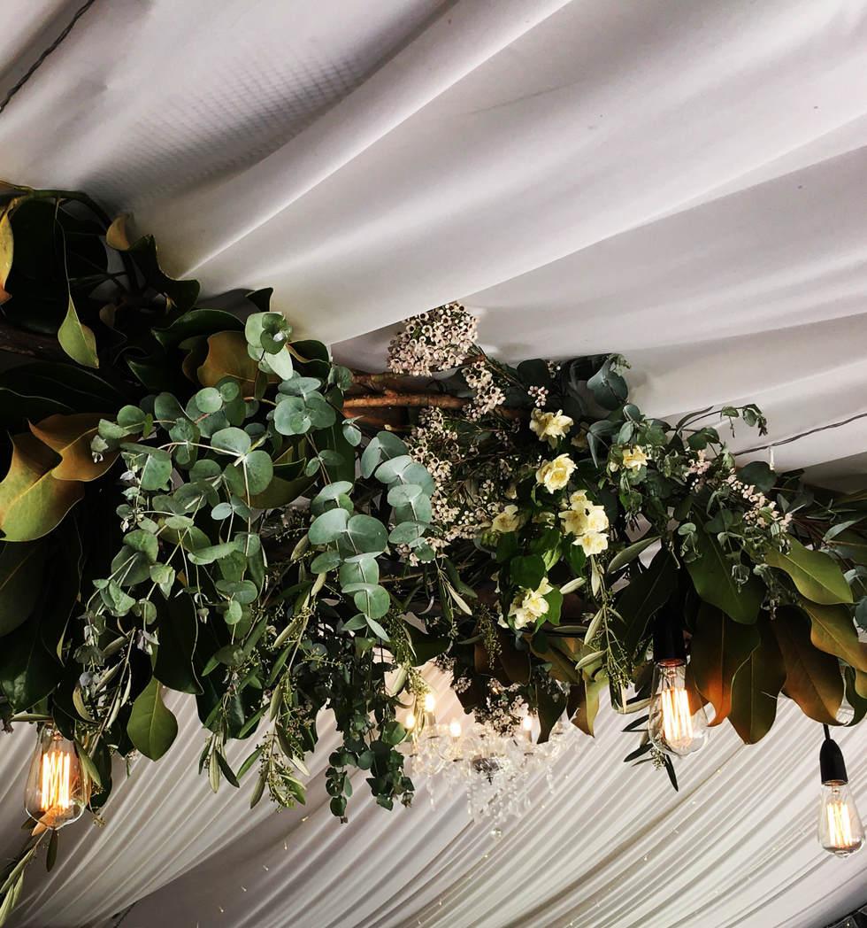 Overhead hanging greenery installation o