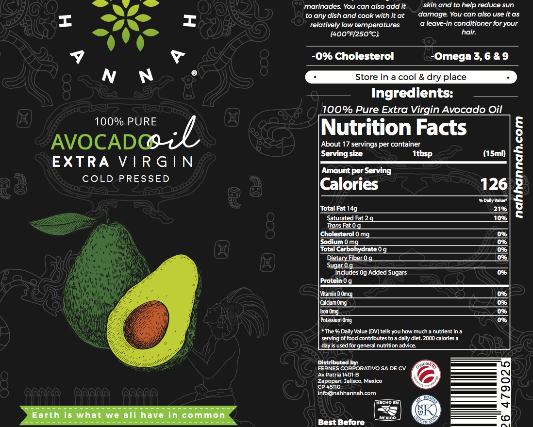 Extra Virgin Avocado Oil Label