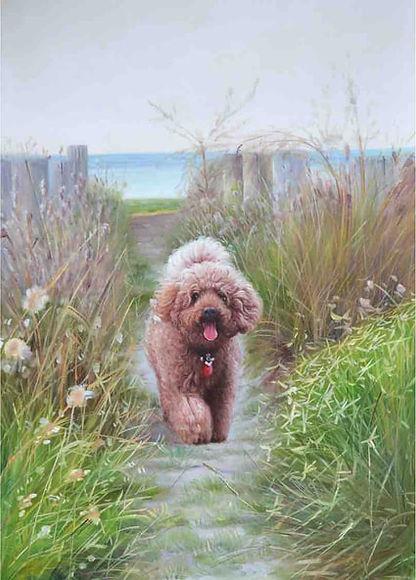 Amber Art Gallery Pet Portrait Oil Painting Poodle