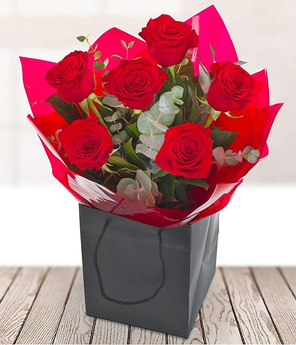 6 red roses and Greenery