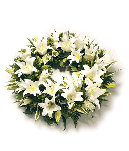 White lilies open wreath