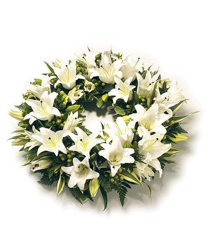 White lilies open wreath