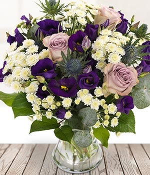 Country Garden lilacs and purple shade bouquet