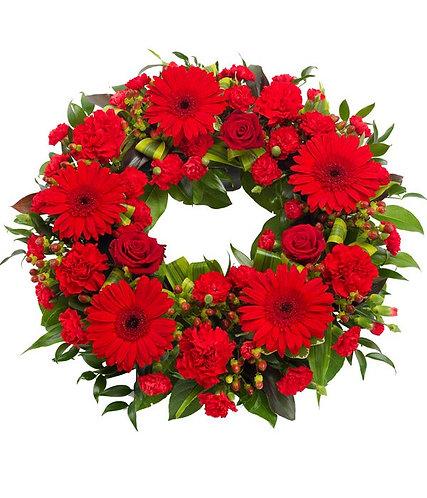 Red open wreath