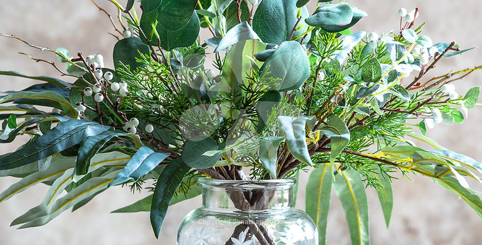 Christmas Foliage in glass