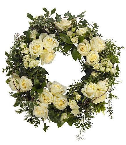 White roses open wreath