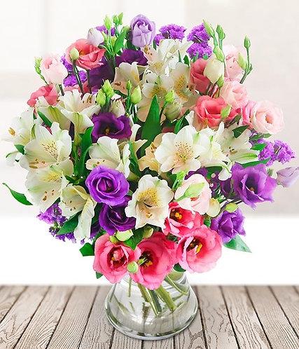 Lisianthus and alstromeria bouquet