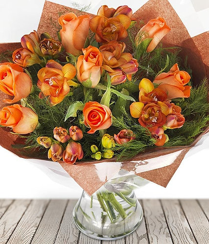 Roses and freesias bouquet