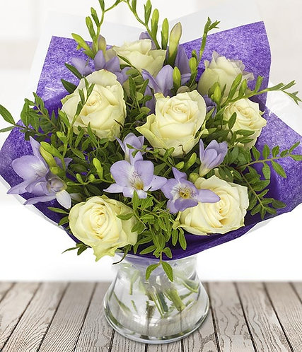 Scented freesia and rose bouquet