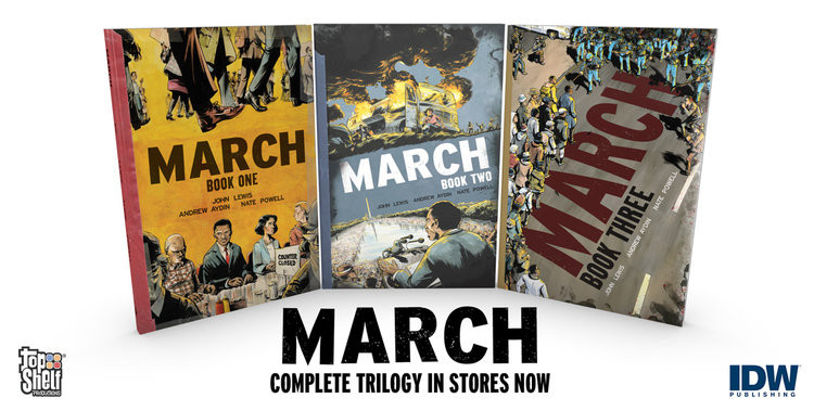 """March"" Trilogy. Covers."