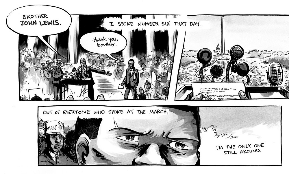 "1963 March on Washington, from ""March"" by John Lewis, Andrew Aydin & Nate Powell. (c) 2013. Top Shelf Productions."