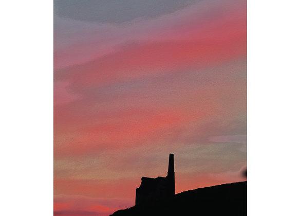 Cornwall Art Print : Mine Sunset