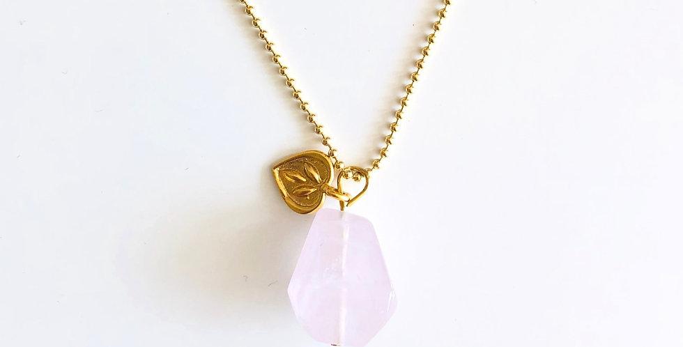 Kette Gold mit Rosenquarz