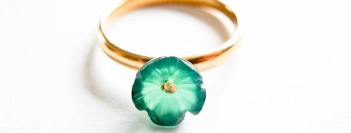 Ring Green Flower Gold