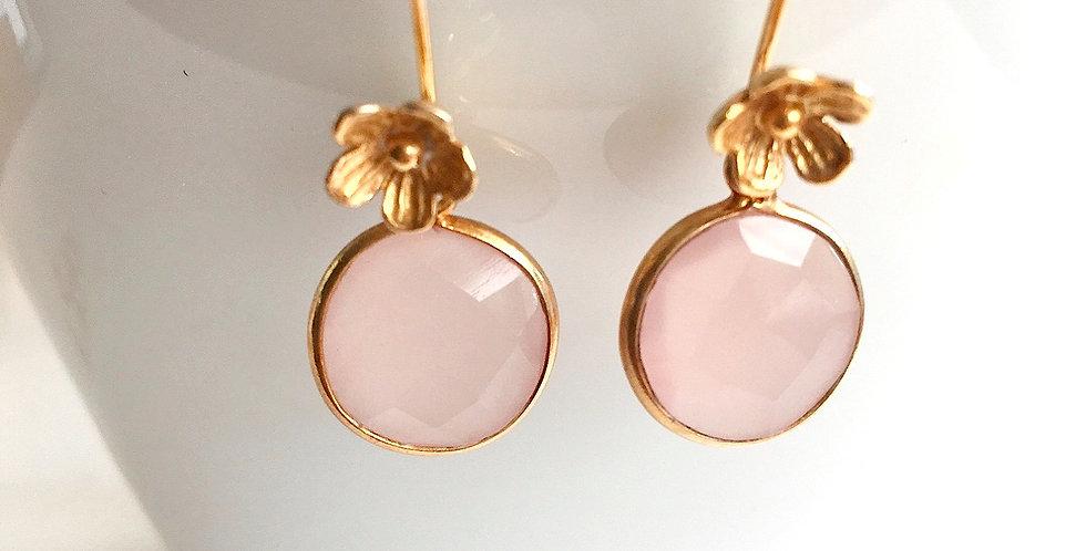 Ohrringe Silber vergoldet mit Rosenquarz