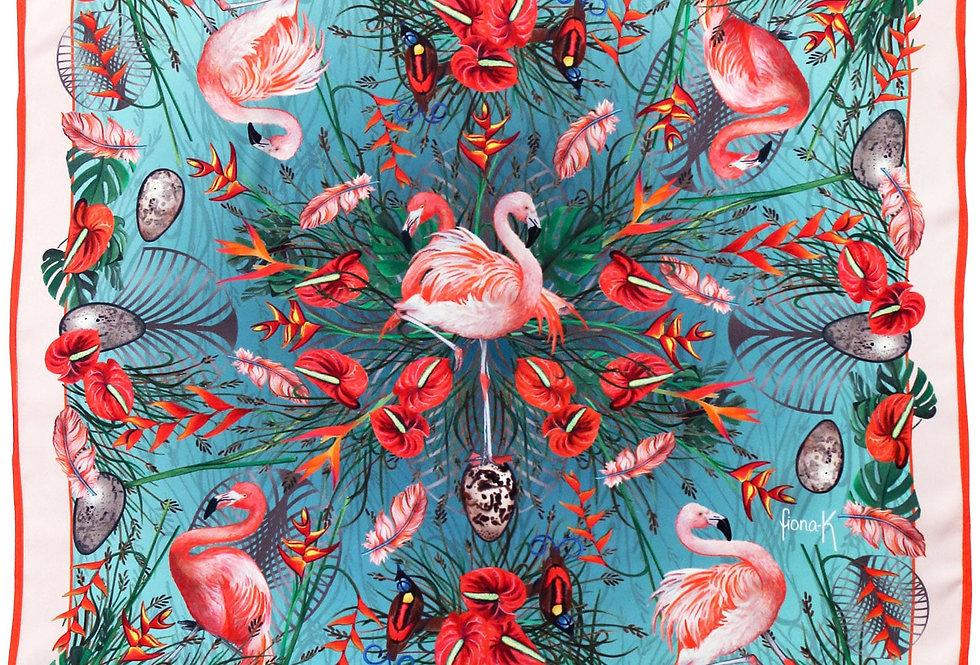 Seidenfoulard - Flamingo - 65x65 cm
