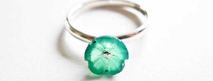 Ring Green Flower Silver