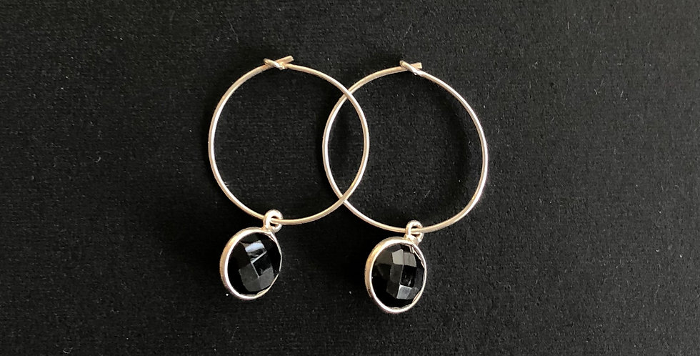 Hoops Silver Onyx