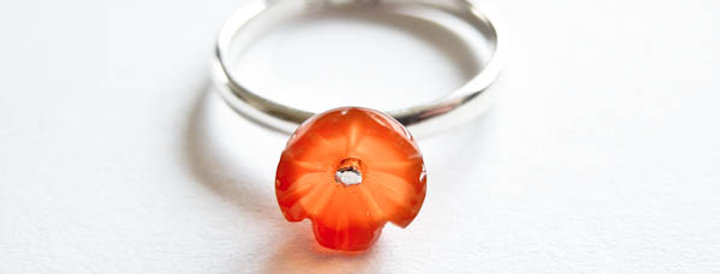 Ring Orange Flower Silver